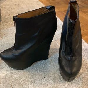 Jeffrey Campbell black platform ankle booties